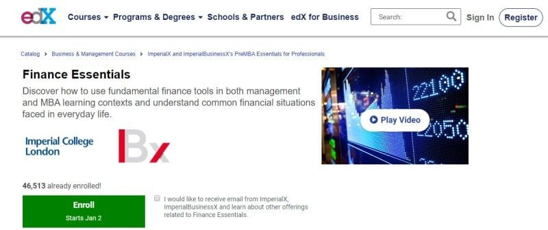 2. Finance Essentials by Imperial College, London