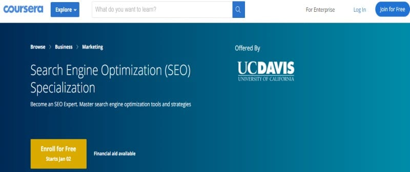 Search Engine Optimization (SEO) Specialization by University of California