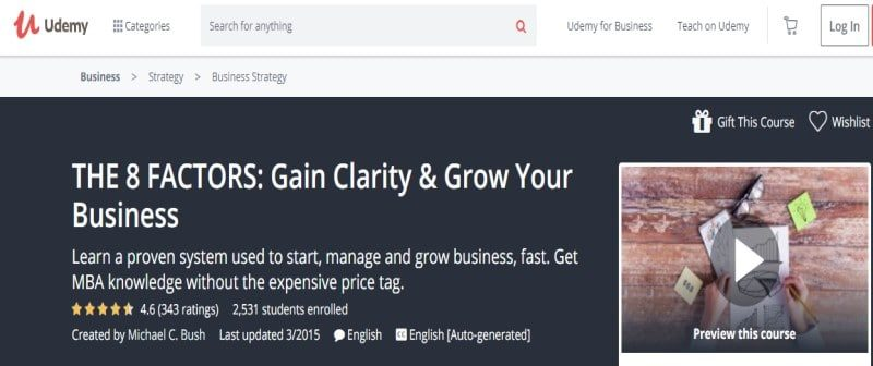 The Eight Factors – Gain Clarity & Grow your Business by Udemy