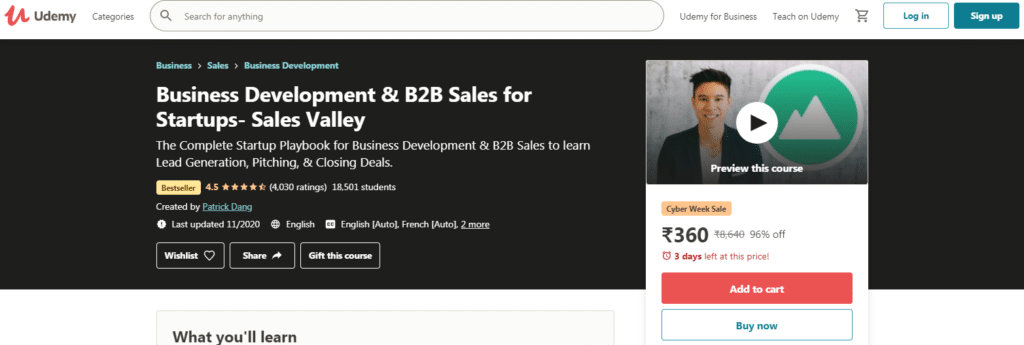 Business Development & B2B Sales for Startups- Sales Valley